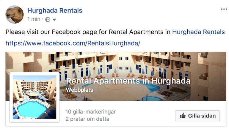 Follow us on Facebook - www.apartmentsinhurghada.com