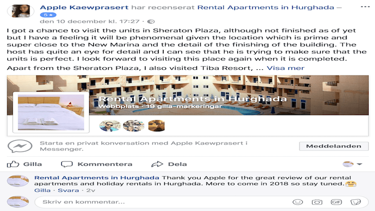Five Star Client Review - Holiday Rentals and Rental Apartments in Hurghada - www.apartmentsinhurghada.com