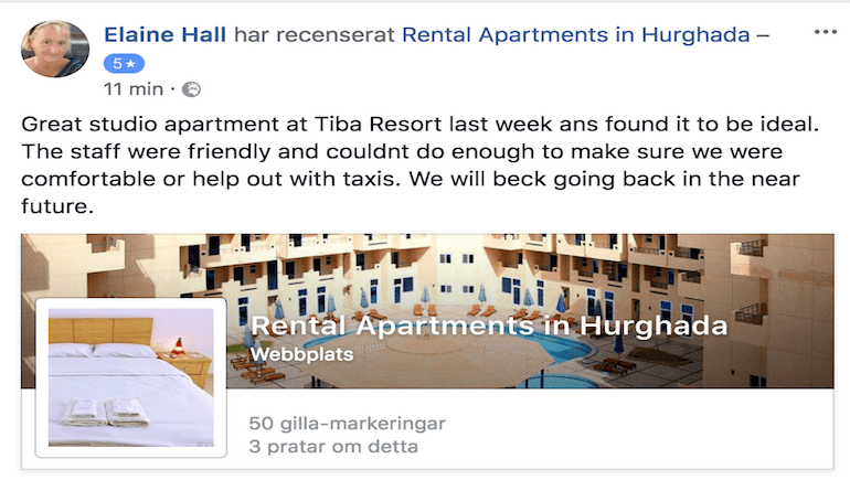 Tiba Resort Hurghada - Happy Customer Review From A Happy Customer Staying at Tiba Resort Hurghada - www.apartmentsinhurghada.com