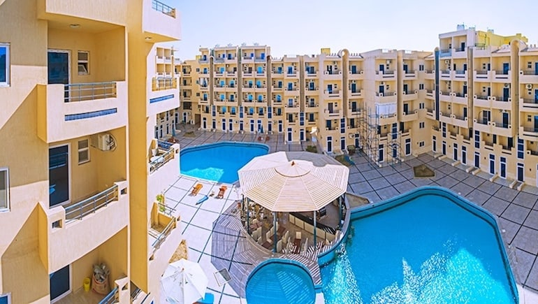 Pool View Rental Apartment With Balcony at Tiba Resort - Holiday Rentals in Hurghada - www.apartmentsinhurghada.com