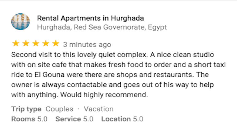 Five Star Review on Google From a Returning Customer - Book Your Holiday Rental in Hurghada on www.apartmentsinhurghada.com