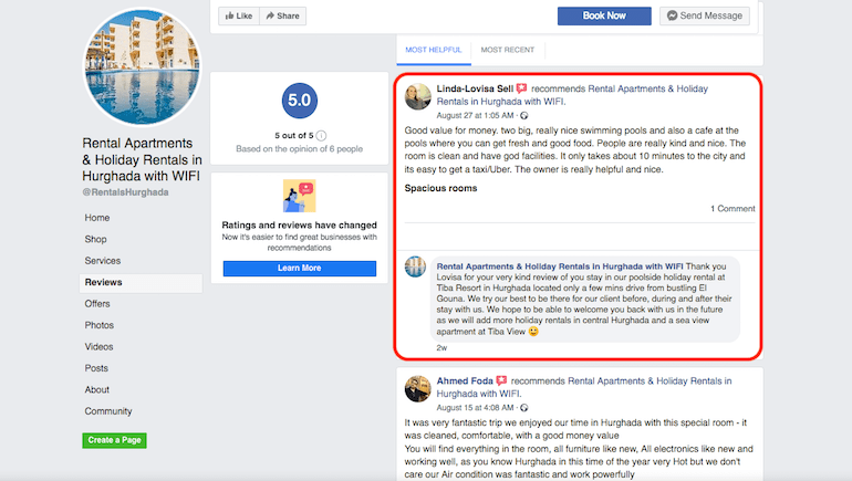 August 2019 Facebook Review - Poolside Holiday Rental in Hurghada - Book Online on www.apartmentsinhurghada.com