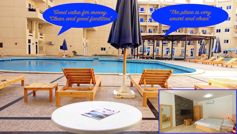 Poolside Holiday Rental in Hurghada With Exceptional Reviews at Tiba Resort - Book Your Holiday Rental in Hurghada on www.apartmentsinhurghada.com