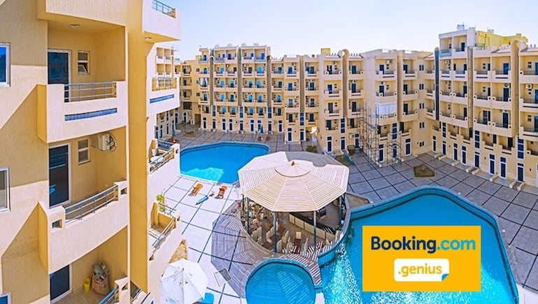 Become A Loyal Top Floor Genius With a 10% Discount For Booking.com Genius Guests Staying in our Top Floor Holiday Rental in Hurghada at Tiba Resort - Book Online www.apartmentsinhurghada.com or Booking.com