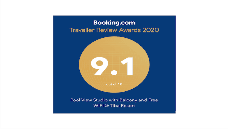 2020 Traveller Review Award From Booking.com - Pool View Holiday Rental in Hurghada at Tiba Resort - Tiba Resort E4 - Book Online on www.apartmentsinhurghada.com