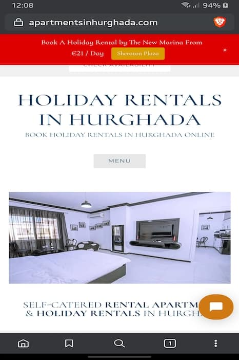 Book Our Holiday Rentals in Hurghada On A Mobile Device - Vacation Rentals in Hurghada Online - www.apartmentsinhurghada.com