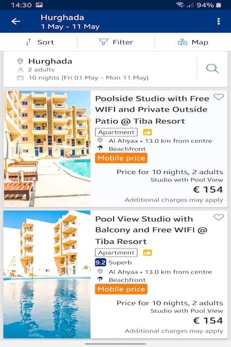 Get a 10% Discount When Booking Our Holiday Rentals in Hurghada on Booking.com on a Mobile Device - www.apartmentsinhurghada.com