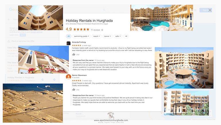 Positive Reviews in Difficult Times - Book Vacation Rentals in Hurghada Online - www.apartmentsinhurghada.com