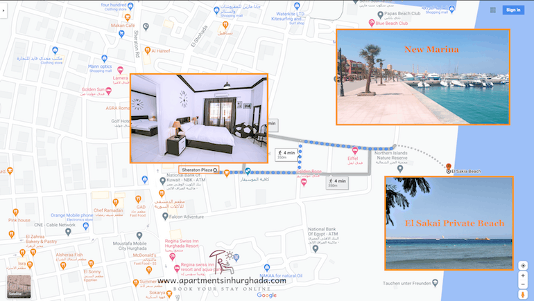 Holiday Rentals by El Sakia Beach in Hurghada at Sheraton Plaza - Book on www.apartmentsinhurghada.com
