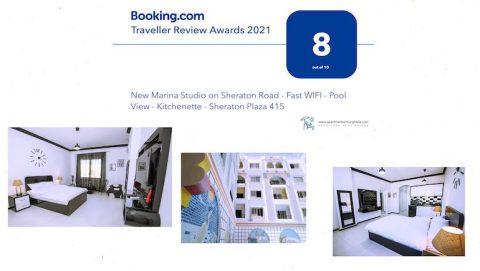 Booking.com 2021 Traveller Award For Sheraton Plaza 415 - New Marina on Sheraton Road - Book on www.apartmentsinhurghada.com