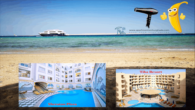 Holiday Rentals With Hair Dryers in Hurghada - Sheraton Plaza - Tiba Resort - Book Online - www.apartmentsinhurghada.com -