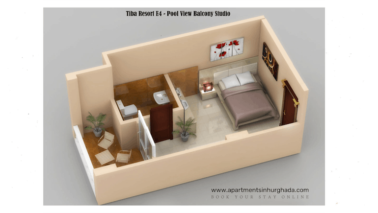 Floor Plan - Tiba Resort E4 - Holiday Rentals in Hurghada Online - www.apartmentsinhurghada.com -