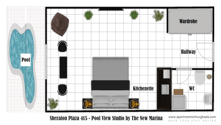 Sheraton Plaza 415 - Award-Winning Holiday Rental With Washing Machine & Kitchenette - Sheraton Road by The New Marina - Book on www.apartmentsinhurghada.com - Fast Free WIFI -
