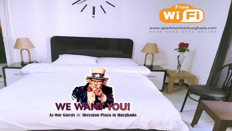 We Welcome Guests From The US - Holiday Rentals in Hurghada With Washing Machines Close to McDonalds - Book Online - www.apartmentsinhurghada.com -