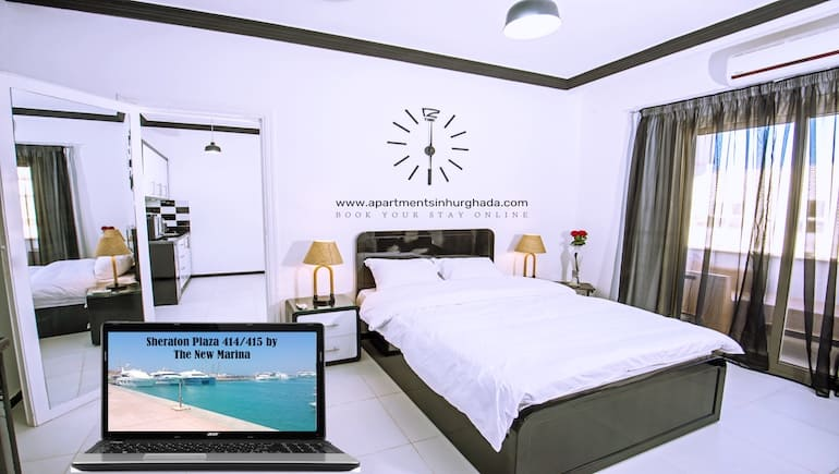 Central And Family Friendly Holiday Rentals in Hurghada - Sheraton Plaza 414-415 - For Up To 4 Persons - Book Online - www.apartmentsinhurghada.com -